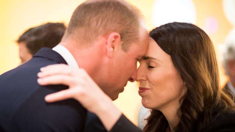 William receives traditional Maori greeting from New Zealand PM