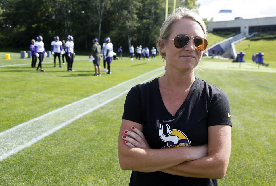 Kelly Kleine has advanced from a public relations intern to an NFL scouting executive role in 10 seasons. (AP Photo/Jim Mone, File)