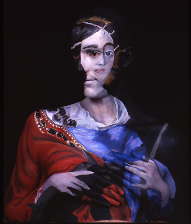 PICTURE FROM CATERS/Chadwick and Spector. PICTURED - Nell Gwynne as St. Catherine, after Sir Peter Lely. The original painting was found in storage at the Berkeley Art Museum, California, USA. This is the man who really does suffer for his art - staying COMPLETELY STILL for up to 15 hours at a time to be painted. But this is no ordinary still life, bizarrely Chadwick Grays body is actually used as a canvas for his friend and fellow artist, Laura Spector. SEE CATERS COPY..........
