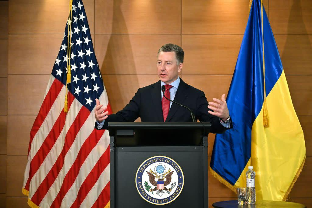 Former US special envoy for Ukraine Kurt Volker speaks during a press conference in Kiev on July 27, 2019. | Sergei Supinsky—AFP/Getty Images