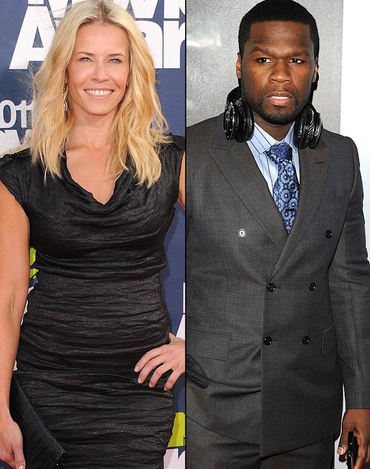 """Although talk show host Chelsea Handler and rapper 50 Cent were spending an awful lot of time together in late 2010, they both insisted they were just friends. (Because everyone posts Twitter photos of themselves cuddling with their """"friends"""" in bed, right?) Finally, after months of speculation, the bawdy comedienne admitted on """"Piers Morgan Tonight"""" that she and 50 Cent """"dated, very casually. He's a very sweet, nice guy … I was sampling, kind of, the atmosphere, seeing what was out there, and I was satiated."""" Jon Kopaloff/<a href=""""http://www.filmmagic.com/"""" target=""""new"""">FilmMagic.com</a>, Andrew H. Walker/<a href=""""http://www.wireimage.com"""" target=""""new"""">WireImage.com</a>"""