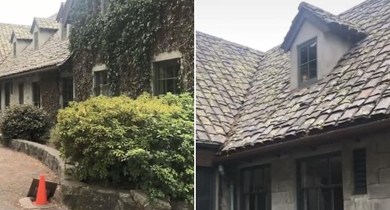 A house in Carmel, California is pictured with a face peeking out of a window.