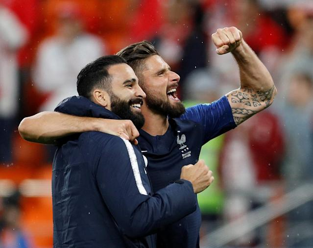 Soccer Football - World Cup - Group C - France vs Peru - Ekaterinburg Arena, Yekaterinburg, Russia - June 21, 2018 France's Olivier Giroud and Adil Rami celebrate after the match REUTERS/Darren Staples