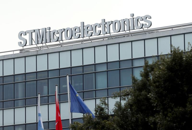 A logo is pictured on the factory of STMicroelectronics in Plan-les-Oautes