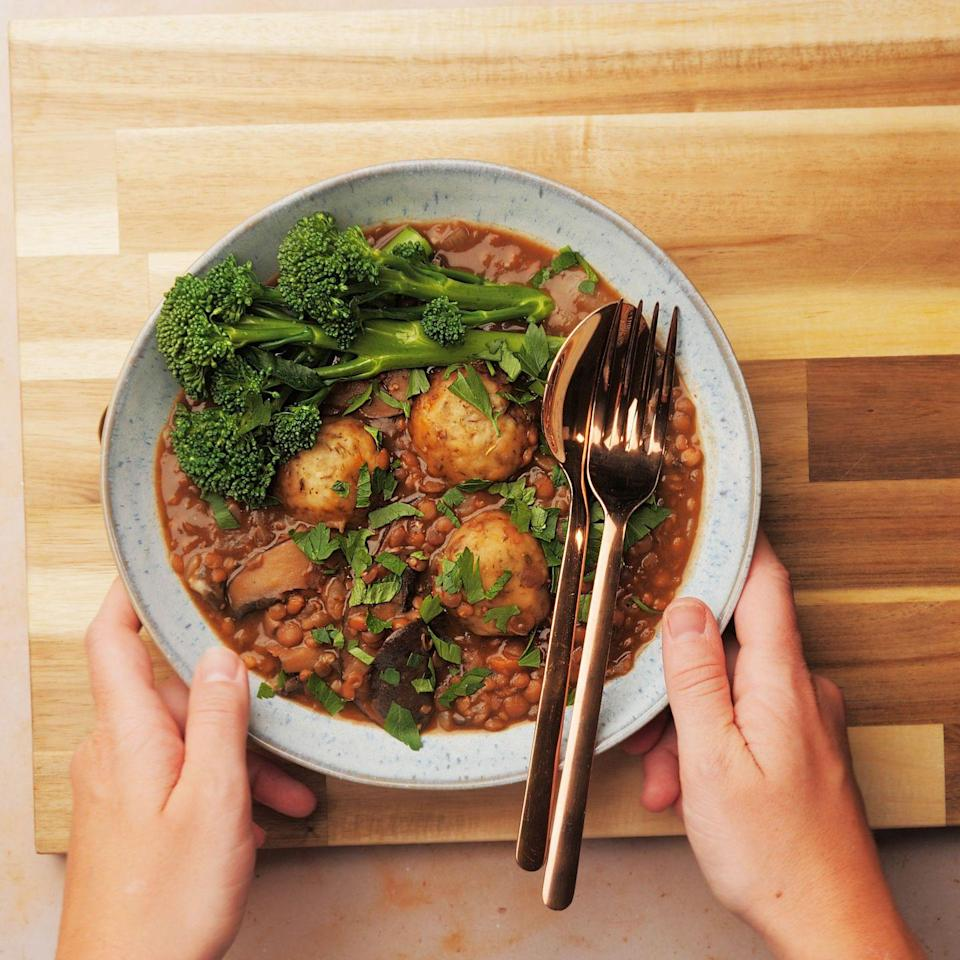 "<p>Welcome in the colder months with this warming stew. Portobello <a href=""https://www.goodhousekeeping.com/uk/food/recipes/g547548/12-recipes-that-prove-mushrooms-are-the-ultimate-ingredient-for-autumn/"" rel=""nofollow noopener"" target=""_blank"" data-ylk=""slk:mushrooms"" class=""link rapid-noclick-resp"">mushrooms</a> give the stew a hearty flavour and <a href=""https://www.goodhousekeeping.com/uk/food/a32015847/cod-and-lentils/"" rel=""nofollow noopener"" target=""_blank"" data-ylk=""slk:lentils"" class=""link rapid-noclick-resp"">lentils</a> provide a delicious source of protein, whilst Marmite will add a deep richness to the stew. Fluffy thyme <a href=""https://www.goodhousekeeping.com/uk/food/cookery-videos/a657382/how-to-make-dumplings/"" rel=""nofollow noopener"" target=""_blank"" data-ylk=""slk:dumplings"" class=""link rapid-noclick-resp"">dumplings</a> top this <a href=""https://www.goodhousekeeping.com/uk/food/recipes/g553081/vegan-recipes/"" rel=""nofollow noopener"" target=""_blank"" data-ylk=""slk:vegan"" class=""link rapid-noclick-resp"">vegan</a> <a href=""https://www.goodhousekeeping.com/uk/food/recipes/g538754/best-slow-cooker/"" rel=""nofollow noopener"" target=""_blank"" data-ylk=""slk:slow cooker"" class=""link rapid-noclick-resp"">slow cooker</a> recipe, which is sure to become a winter favourite! </p><p><strong><br></strong><strong>Recipe: <a href=""https://www.goodhousekeeping.com/uk/food/recipes/a34271859/vegan-slow-cooker-dumpling-stew/"" rel=""nofollow noopener"" target=""_blank"" data-ylk=""slk:Vegan Slow Cooker Dumpling Stew"" class=""link rapid-noclick-resp"">Vegan Slow Cooker Dumpling Stew</a></strong></p>"