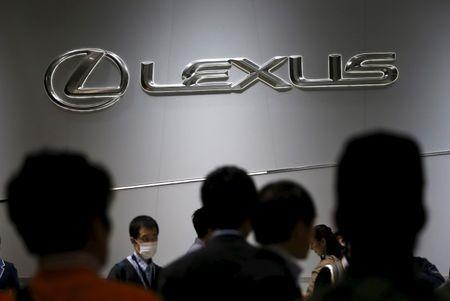 Toyota Motor Corp's Lexus brand logo is displayed at the 44th Tokyo Motor Show in Tokyo, Japan