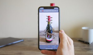 Developed by Rock Paper Reality, this experience augments a real Siduri Wine bottle using 8th Wall's new Curved Image Target technology with no app required.