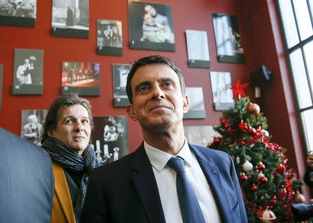 Manuel Valls, former French prime minister and presidential primary candidate, visits the TNP (National Popular Theater) as he campaigns in Villeurbanne