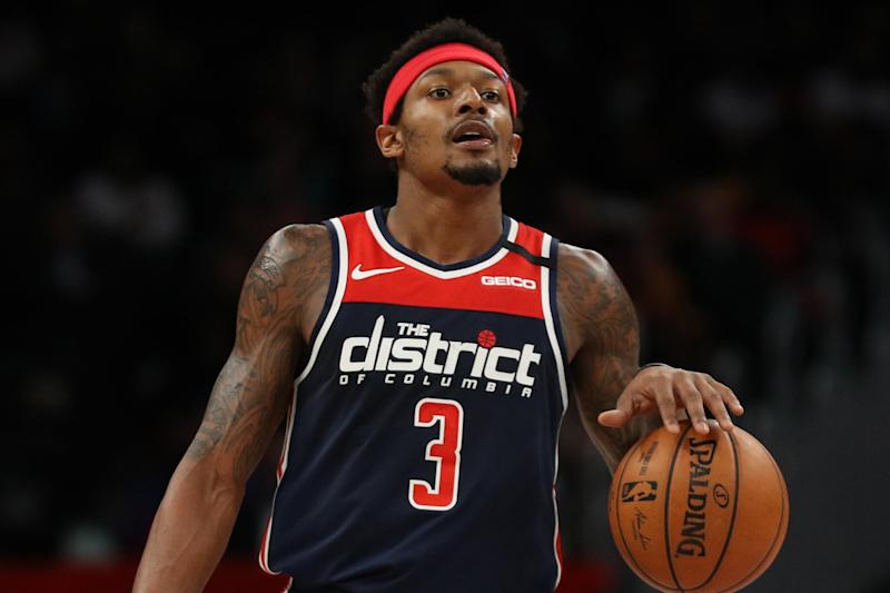 WASHINGTON, DC - MARCH 10: Bradley Beal #3 of the Washington Wizards in action against the New York Knicks at Capital One Arena on March 10, 2020 in Washington, DC. NOTE TO USER: User expressly acknowledges and agrees that, by downloading and or using this photograph, User is consenting to the terms and conditions of the Getty Images License Agreement. (Photo by Patrick Smith/Getty Images)