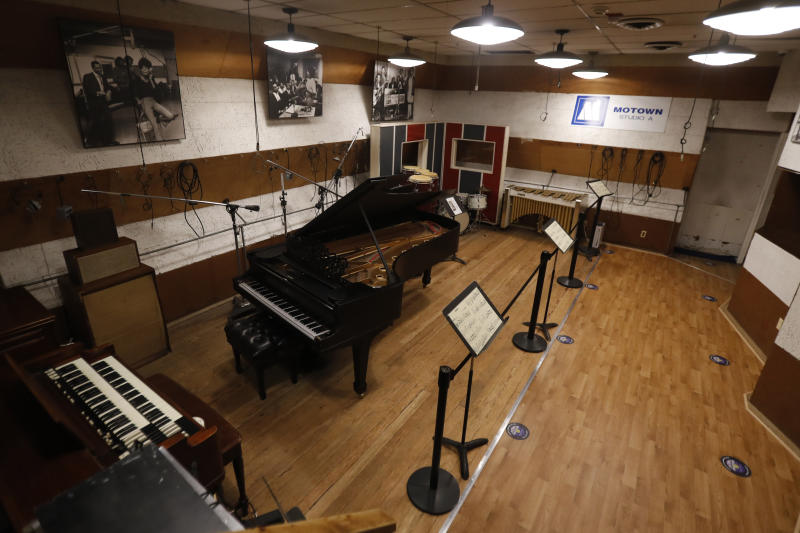 Studio A is seen at the Motown Museum, Wednesday, July 15, 2020, in Detroit. The Detroit building where Berry Gordy Jr. built his music empire reopened its doors to the public on Wednesday. It had been closed since March due to the coronavirus pandemic. (AP Photo/Carlos Osorio)