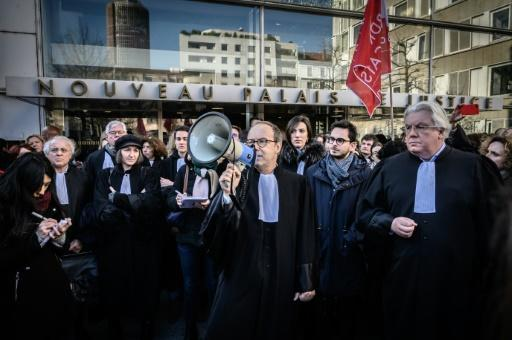 Lawyers demonstrated against the pension overhauls in Lyon, southeast France, on Monday