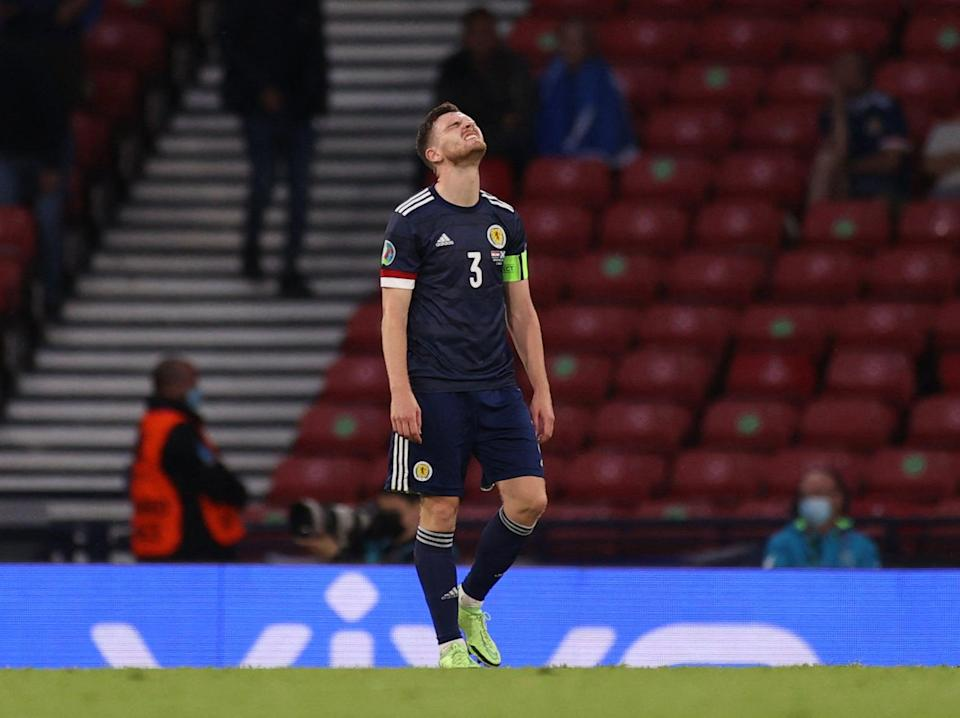 Scotland captain Andy Robertson reacts to his side's Euro 2020 exit (POOL/AFP via Getty Images)