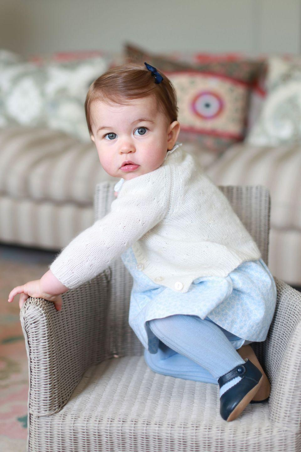 "<p>For Princess Charlotte's first birthday, the Duchess took a series of portraits of her second child around their family's home, <a href=""https://www.townandcountrymag.com/style/home-decor/a25646036/anmer-hall-prince-william-kate-middleton-george-louis-princess-charlotte-country-home/"" rel=""nofollow noopener"" target=""_blank"" data-ylk=""slk:Anmer Hall"" class=""link rapid-noclick-resp"">Anmer Hall</a>. </p>"