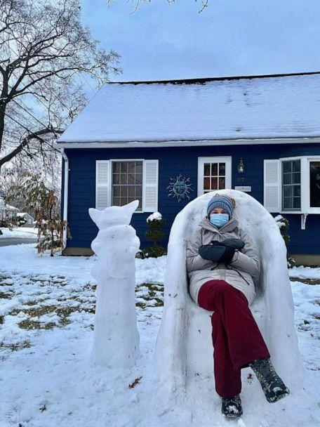 PHOTO: Katina Gustafson, an art teacher from East Providence, Rhode Island, made a Bernie Sanders-inspired snow sculpture in front of her home to keep students entertained. (Katina Gustafson)