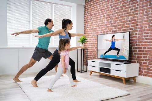 """<span class=""""caption"""">Try choosing exercise you enjoy.</span> <span class=""""attribution""""><a class=""""link rapid-noclick-resp"""" href=""""https://www.shutterstock.com/image-photo/fit-family-doing-home-online-stretching-1706922184"""" rel=""""nofollow noopener"""" target=""""_blank"""" data-ylk=""""slk:Andrey_Popov/ Shutterstock"""">Andrey_Popov/ Shutterstock</a></span>"""