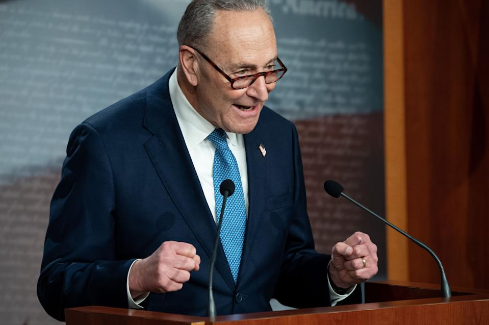 US Senate Minority Leader Chuck Schumer, Democrat of New York, speaks during a press conference at the US Capitol in Washington, DC, January 6, 2021. (Saul Loeb/AFP via Getty Images)