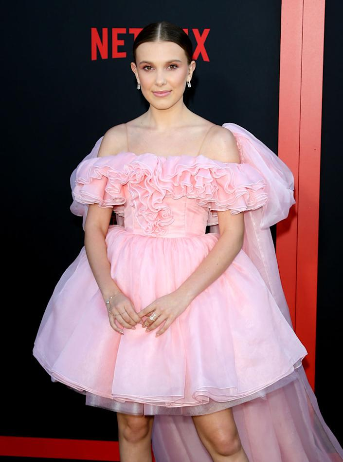 Millie Bobby Brown has turned 16! Pictured here at the premiere of 'Stranger Things' Season 3 June 2019 (Getty)