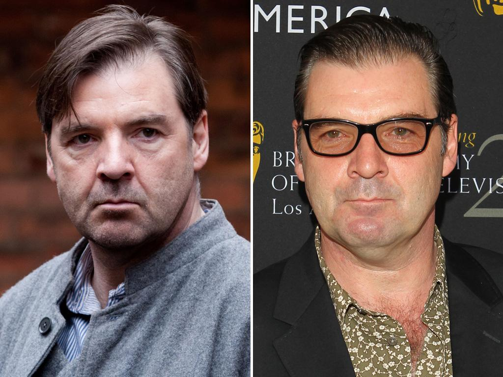 """<p>Whoa! With his slick hair and open shirt, <strong>Brendan Croyle</strong> looks more like a bit player on """"The Sopranos"""" here than """"Downton's"""" stoic Mr. Bates. Maybe we should just fuhgettaboutit.</p>"""