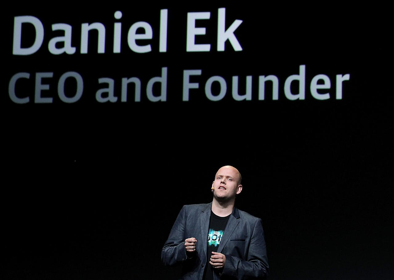 SAN FRANCISCO, CA - SEPTEMBER 22:  Spotify CEO Daniel Ek makes an appearance during a keynote address by Facebook CEO Mark Zuckerberg at the Facebook f8 conference on September 22, 2011 in San Francisco, California. Facebook CEO Mark Zuckerberg kicked off the conference introducing a Timeline feature to the popular social network.  (Photo by Justin Sullivan/Getty Images)