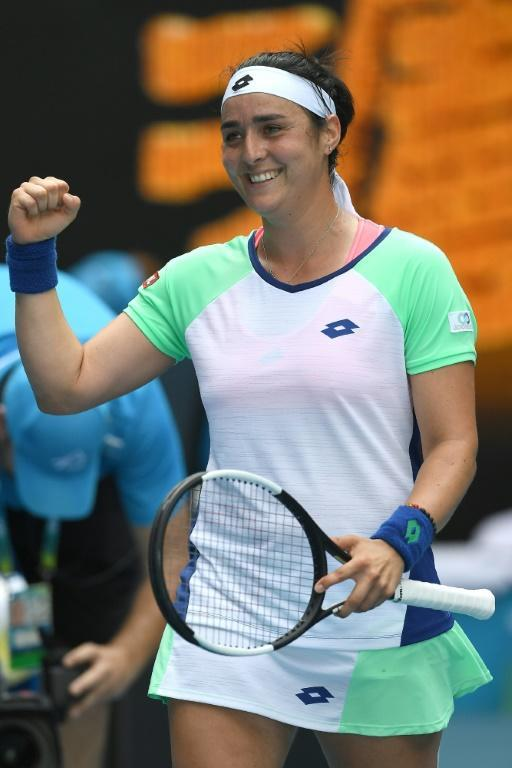 Ons Jabeur became the first player from the Arab world to reach the last eight of a Grand Slam when she beat Wang Qiang in Melbourne (AFP Photo/Greg Wood)