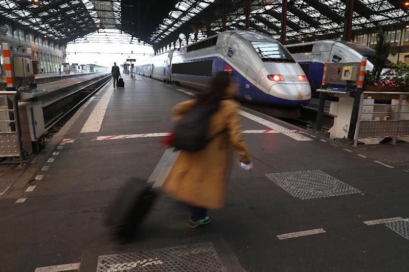 Around half of France's trains were cancelled on June 1 as workers from railway operator SNCF launched their eighth strike in three months (AFP Photo/Kenzo Tribouillard)