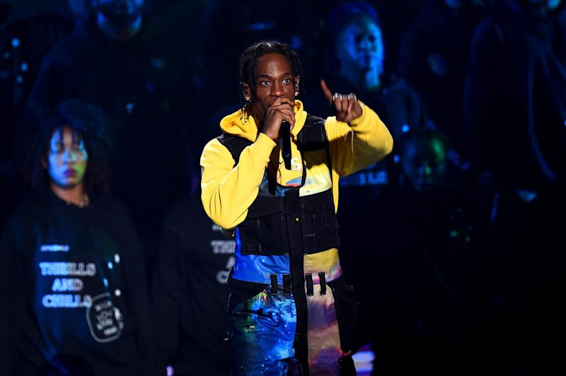 Travis Scott raps on the track Antisocial with Ed Sheeran. (Getty)