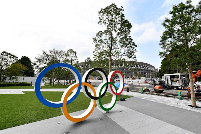 Olympic logos are starting to show up around Tokyo. (Getty)