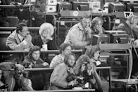 <p>Caroline Kennedy (front, center-right) working as a photographer's assistant at the 1976 Winter Olympics in Innsbruck.</p>