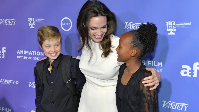 Angelina Jolie Poses With Daughters Zahara and Shiloh on the Red Carpet -- See the Sweet Pics!