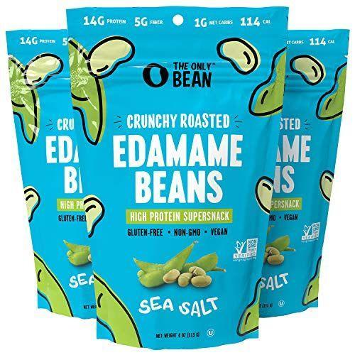 """<p><strong>The Only Bean</strong></p><p>amazon.com</p><p><strong>$13.47</strong></p><p><a href=""""https://www.amazon.com/dp/B08R6DZXYV?tag=syn-yahoo-20&ascsubtag=%5Bartid%7C2141.g.37871941%5Bsrc%7Cyahoo-us"""" rel=""""nofollow noopener"""" target=""""_blank"""" data-ylk=""""slk:Shop Now"""" class=""""link rapid-noclick-resp"""">Shop Now</a></p><p>Steamed edamame are a perfect snack option, but these crunchy, roasted edamame beans also bring a great texture factor. """"Edamame is protein, carbs, fiber, and healthy fats in its own little package, so you don't have to think about it,"""" Harris-Pincus says. </p>"""