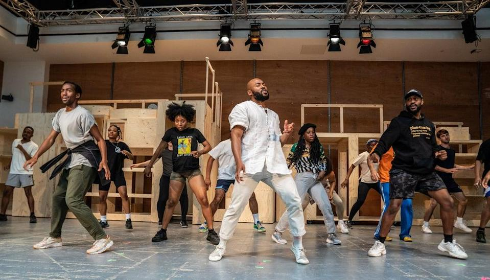 Arinzé Kene and the cast of Get Up, Stand Up! in rehearsals (handout)