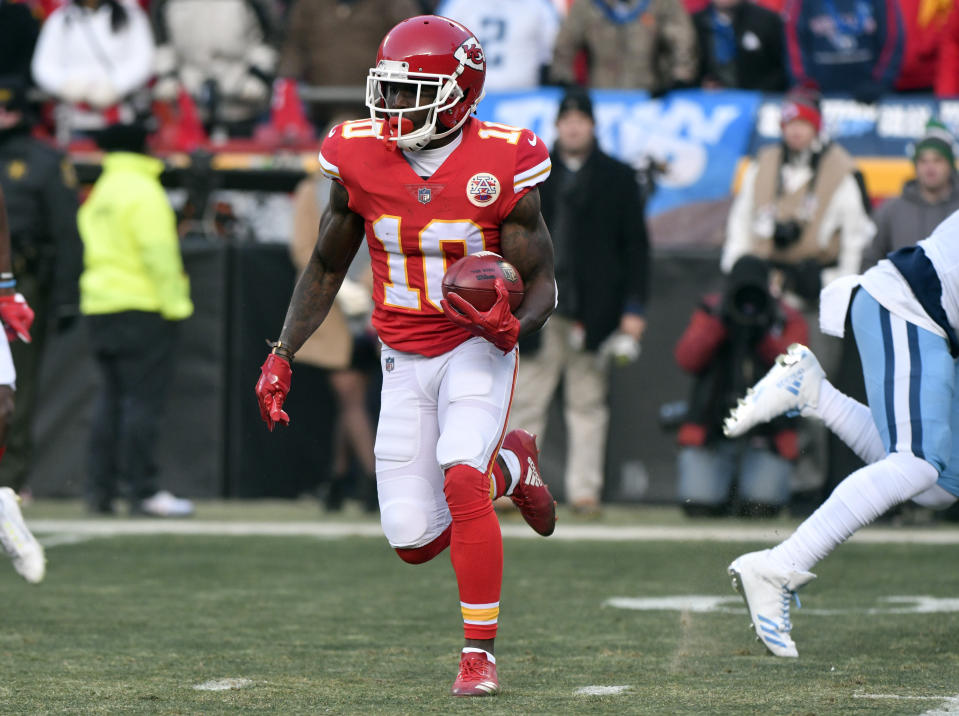 Kansas City Chiefs receiver Tyreek Hill is capable of scoring each time he touches the ball, but his fantasy value is too reliant on big plays. (AP Photo/Ed Zurga)