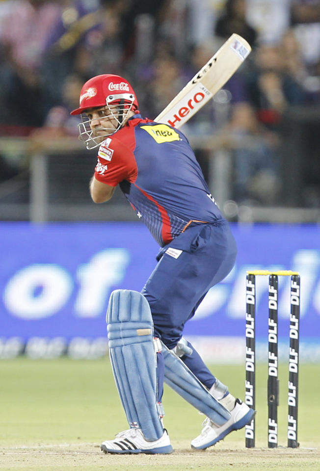 PUNE, INDIA - MAY 22: Delhi Daredevils batsman Virender Sehwag plays a shot  against Kolkata Knight Riders during the first qualifier on May 22, 2012 in Pune, India. Chasing 162 runs made by Kolkata Knight Riders, Delhi Daredevils lost by 18 runs. With this win Kolkata Knight riders have qualified for final while Delhi Daredevils will now play Winner of eliminator 1 played between Chennai Super Kings and Mumbai Indians in eliminator 2 to decide the other finalist. (Photo by Vijayanand Gupta/ Hindustan Times via Getty Images)