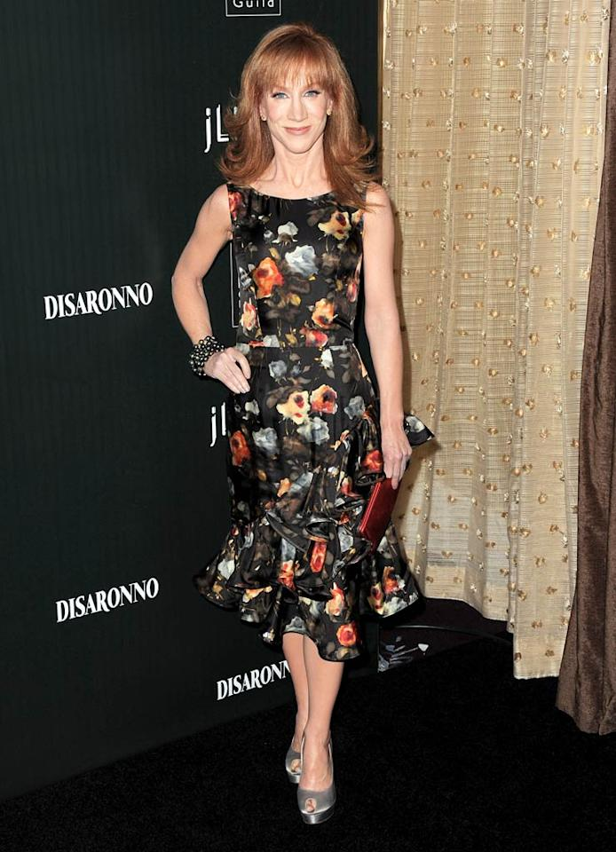 """Funny lady Kathy Griffin showed off her trim figure in a ruffled, floral-print frock. Jordan Strauss/<a href=""""http://www.wireimage.com"""" target=""""new"""">WireImage.com</a> - February 22, 2011"""