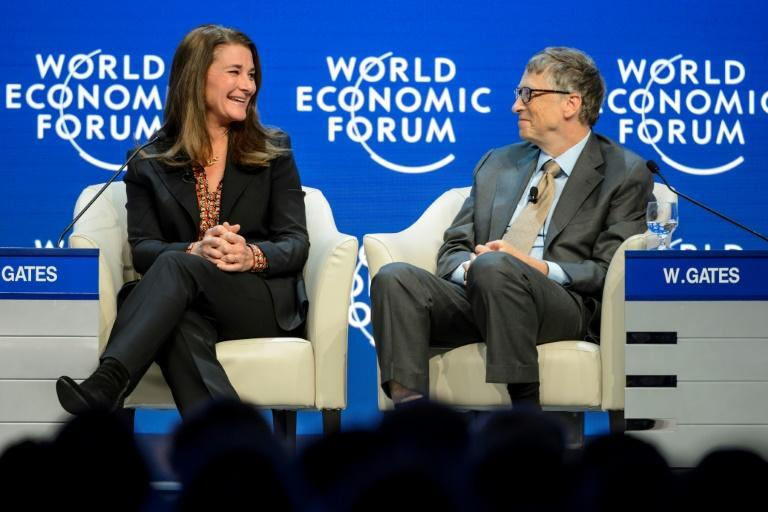 Melinda and Bill Gates are seen at the Congress Center during the World Economic Forum (WEF) annual meeting in Davos in 2015