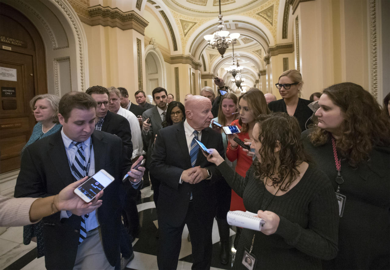 <p> House Ways and Means Committee Chairman Kevin Brady, R-Texas, talks to reporters at the Capitol after Republicans signed the conference committee report to advance the GOP tax bill, in Washington, Friday, Dec. 15, 2017. (AP Photo/J. Scott Applewhite) </p>