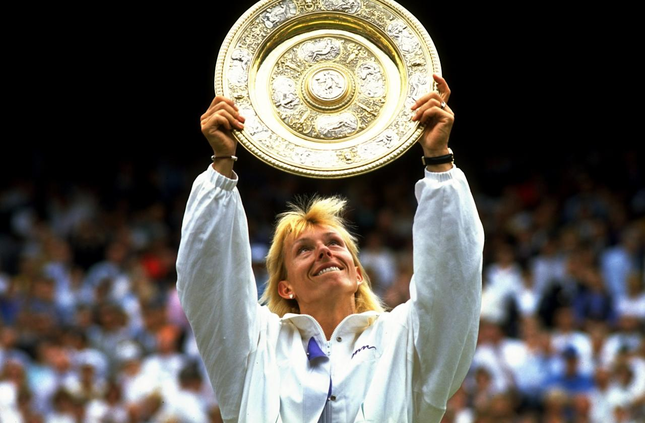 """<p class=""""MsoNormal""""><span>Martina Navratilova won her ninth title in <b>1990 and </b>became the most successful women's Wimbledon player ever, beating fellow American Zina Garrison in straight sets. </span></p>"""