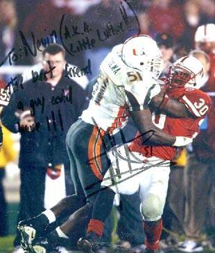 "Nevin Shapiro said Vilma signed and inscribed this photo to him in 2003, with the personal message inscribed to Shapiro's nickname among players: ""Lil' Luke"". The nickname was short for ""Little Luther Campbell,"" an homage to the recording artist who was also known for providing extra benefits to Miami players. Vilma's inscription to Shapiro reads: ""To Nevin (A.K.A. Little Luther!!) The best friend a guy could have!!! - Jon Vilma 51"""