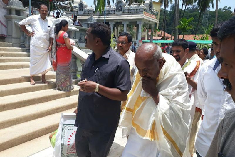 Gowda Takes Chopper Ride With Wife to Get Election Forms 'Blessed' at 1,300-Year-Old Mutt