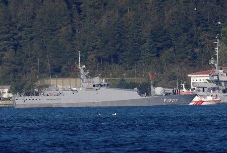 Turkish Navy's patrol boat TCG Tekirdag arrives at the Bosphorus Command headquarters following a resque operation in the Black Sea, in Istanbul