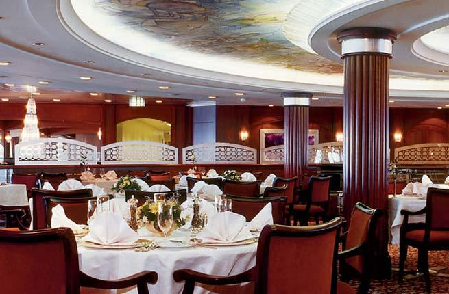 <p><strong>Ship:</strong> and </p>  <p><strong>Experience:</strong> Cruise ship dining rooms are ambitious undertakings—serving multiple courses to hundreds of passengers at a time is no easy feat—and some fall short. Not in this venue, which consistently ranks among the best at sea. You'll realize why the moment you taste such extraordinary offerings as truffled chicken liver parfait with pear confit and roasted wild pheasant breast with pistachio stuffing on champagne sauerkraut—all served on Villeroy & Boch china.</p>  <p><strong>Plan Your Trip:</strong> Visit </p>