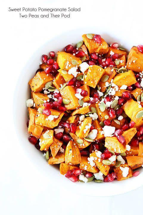 <strong>Get the <span>Sweet Potato Pomegranate Salad recipe</span> from Two Peas & Their Pod</strong>