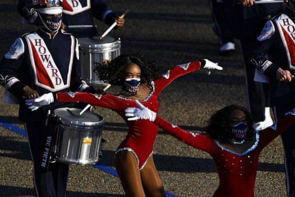 PHOTO: The Howard University Marching Band takes part in the inauguration parade near the White House in Washington, D.C., on Jan. 20, 2021. (Patrick T. Fallon/AFP via Getty Images)