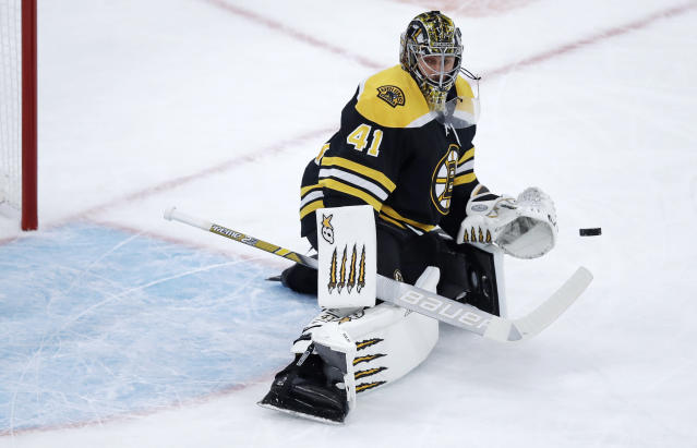 Boston Bruins goaltender Jaroslav Halak makes a save during the first period of the team's NHL hockey game against the San Jose Sharks in Boston, Tuesday, Feb. 26, 2019. (AP Photo/Charles Krupa)