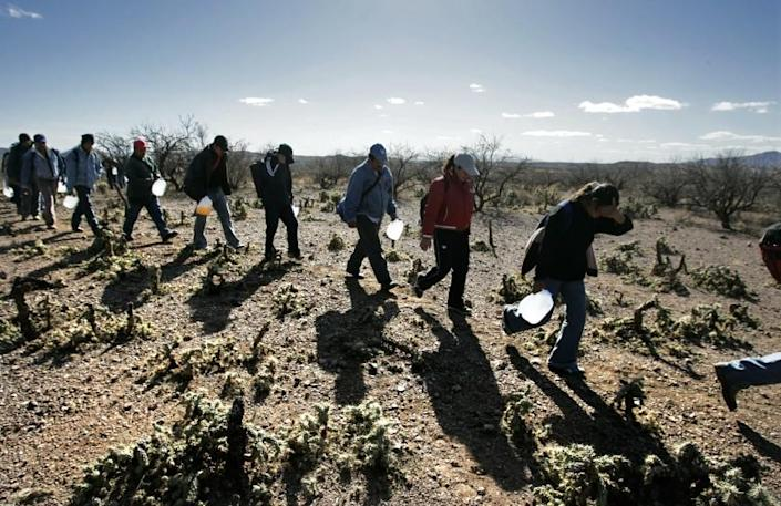 Lugging gallon jugs of water, migrants thread their way along footpaths just north of the Mexico/Arizona border. The numbers of illegal immigrants who have perished trying to cross the southern Arizona desert has reached an historic high this year.