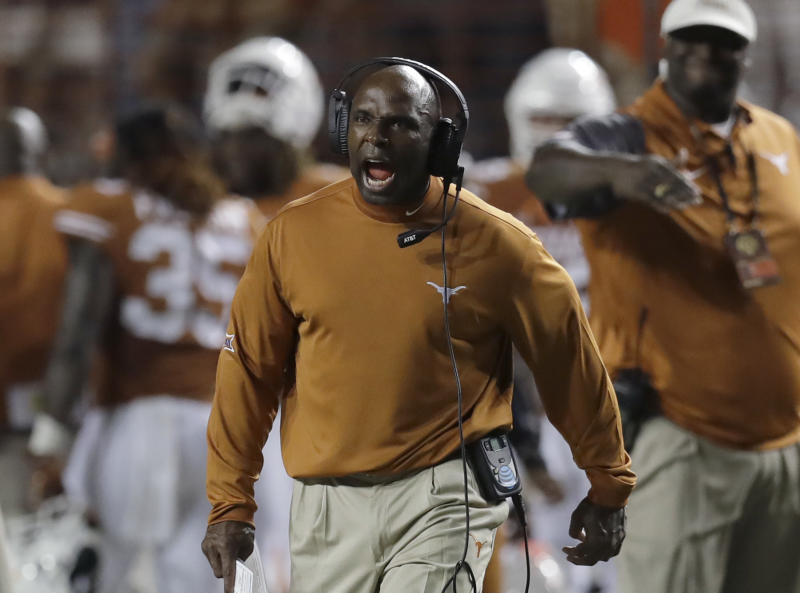 Charlie Strong's Longhorns came through with a big opening-weekend win over Notre Dame. (AP)