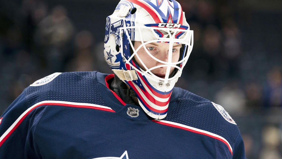 Matiss Kivlenieks, pictured here in action for the Columbus Blue Jackets in 2020.