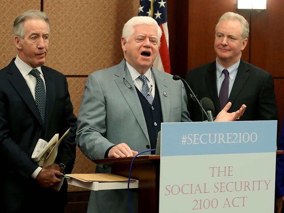 WASHINGTON, DC - JANUARY 30: Rep. John Larson (D-CT) (C) speaks while is flanked by Sens. Chris Van Hollen (D-MD)(R) and Ways and Means Chairman Richard Neal (D-MA), during an event to introduce legislation called the Social Security 2100 Act. which would increase increase benefits and strengthen the fund, during a news conference on Capitol Hill January 30, 2019 in Washington, DC.  (Photo by Mark Wilson/Getty Images)