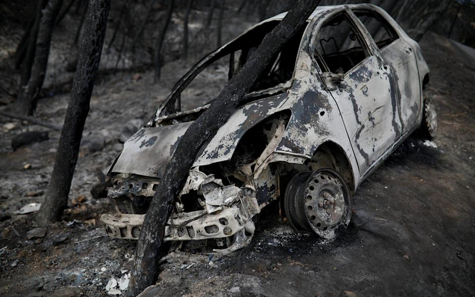 A burned car is stuck under a burned tree following a wildfire in Neos Voutzas, near Athens - REUTERS