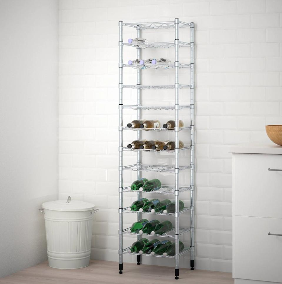 "<p>Give your kitchen an air of professionalism with the help of the <a href=""https://www.popsugar.com/buy/Omar%20Bottle%20Shelving%20Unit-447012?p_name=Omar%20Bottle%20Shelving%20Unit&retailer=ikea.com&price=80&evar1=casa%3Aus&evar9=46151613&evar98=https%3A%2F%2Fwww.popsugar.com%2Fhome%2Fphoto-gallery%2F46151613%2Fimage%2F46152201%2FOmar-Bottle-Shelving-Unit&list1=shopping%2Cikea%2Corganization%2Ckitchens%2Chome%20shopping&prop13=api&pdata=1"" rel=""nofollow noopener"" target=""_blank"" data-ylk=""slk:Omar Bottle Shelving Unit"" class=""link rapid-noclick-resp"">Omar Bottle Shelving Unit</a> ($80). Each shelf can be adjusted to your needs, and the sturdy frame will keep bottles where they belong.</p>"